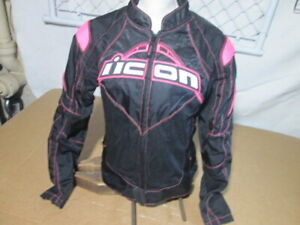 Icon Womens Contra Large Black Pink Motorcycle Riding/ Racing Jacket, No Liner