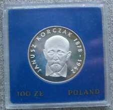 "1978 Poland Silver COIN 100 Zlotych ""Korczak "" WITH CASE"