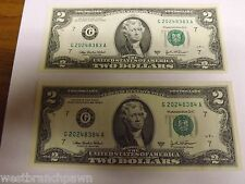 (4) Sequential Notes $2 Two Dollar Bill, Uncirculated US, 2003 A Chicago