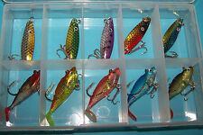 Fishing lures tackle box SPOONS, PADDLE TAIL PLASTICS, NOT SQUIDGIES  #A *