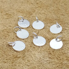 12 Sterling Silver Small Round Tag Charms with Jump Ring 925 Silver for Bracelet