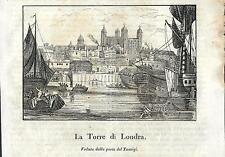 Stampa antica LONDON Londra vista dal Tamigi Cosmorama 1841 Old antique print