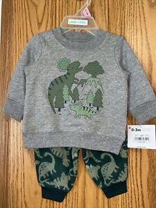 NWT Carters Brand Boys Dinosaur Design 2pc Outfit Sz 0/3mo