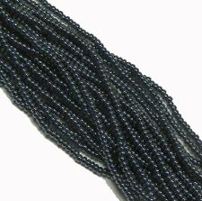 Gunmetal Czech 8/0 Glass Seed Beads  12 Strand Hank Preciosa