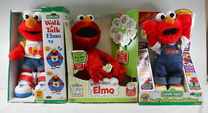 Lot of 3 Battery Powered Elmo Toys Guess What, Walk & Talk, & Let's Pretend Elmo
