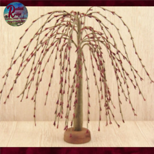 """Primitive Vintage Colonial Country Pip Berry Willow Tree 7"""" Ivory or Burgundy"""