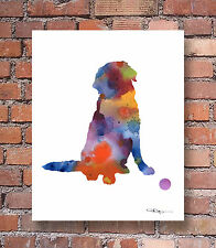 Golden Retriever Contemporary Watercolor Art Print by Artist Djr