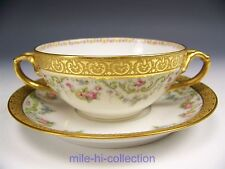 LIMOGES HAND PAINTED ROSES FLOWER HANDLES CUP & SAUCER
