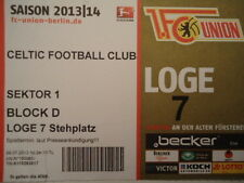 VIP TICKET Loge Friendly 2013/14 Union Berlin - Celtic FC