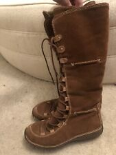 Timberland Tall Suede Women's 7 B Moorland Hollace Lace-up Zip Boots Shearling