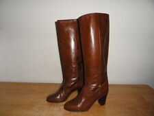 Women's Vtg 80s Brown Leather GUCCI Fashion Knee-Hi Boots Sz-36/6B Made in Italy