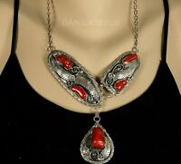 Vintage Old Pawn Navajo JERRY ROAN CORAL STERLING Squash Blossom Drop Necklace
