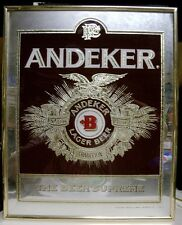 1983 Andeker Lager Beer Framed Glass Sign - Milwaukee, WI - Pabst