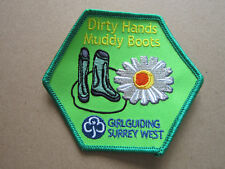 Dirty Hands Muddy Boots Surrey West Girl Guides Cloth Patch Badge (L3K)