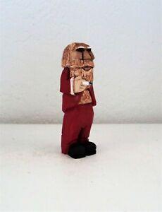 "4"" hand carved wooden santa figure"
