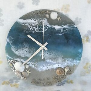 Resin wall clock, modern wall art ocean
