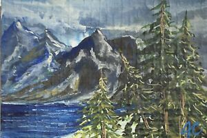 Original ACEO ATC Mountain Lake Trees Painting Gouache Miniature By J.Crooks