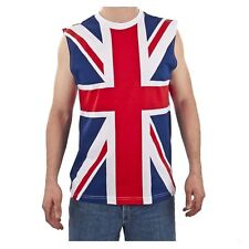 Adult 80's Union Jack DEF LEPPARD UK Flag Sleeveless Heavy Metal Shirt Tank Top