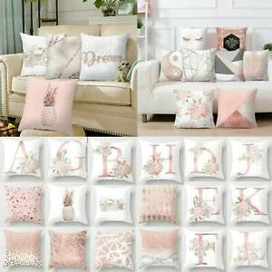 Rose Gold Cushion Pink Covers Geometric Pillow Case Sofa Bedroom Decoration NEW