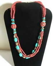 LONG CORAL & TURQUOISE, NECKLACE TRIBAL BELLY DANCE BOHO BEACH GYPSY 26""