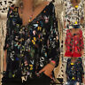 Summer Womens 3/4 Sleeve Butterfly V-Neck Shirt Lady Casual Top Blouse Plus Size