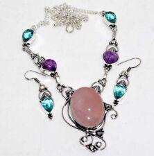 Rose Quartz Amethyst Blue Topaz 925 Silver Plated Necklace Earrings Set GW
