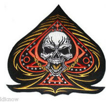 "ACE OF SPADES with SKULL and Rhinestones BACK PATCH 25CM x 25CM (10"" x 10"")"