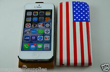 American Flag USA Wrap Around Faux Leather Magnetic Case for iPhone SE 5S 5G 5