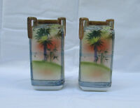 """Antique Pair, 19th Cent. Hand Painted NIPPON Double Handled 5"""" Vases, Beautiful!"""