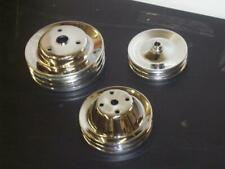 Small Block Chevy Chrome Long Water Pump Crankshaft Power Steering Pulley Kit