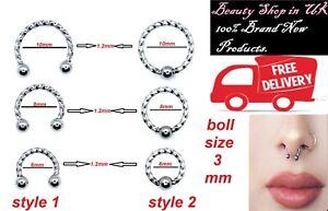 Surgical Stylish Steel Ring Hoop Captive Bead Nose Lip Ear Eyebrow ring & fake
