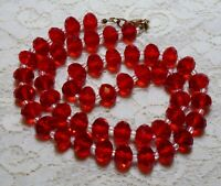 CHUNKY RED ORANGE FACETED GLASS BEADED LONG NECKLACE 26 INCH