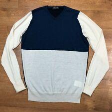John Smedley Jumper Extrafine Merino Wool Blue White Small