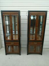 Pair Tall Curio Cabinets Thomasville Hollywood Regency China Nightstands Asian 2
