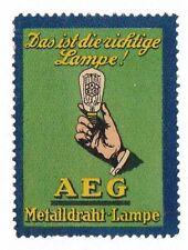 Orig Modernist Poster stamp AEG Metal Filament Lightbulb Peter BEHRENS c1910 grn