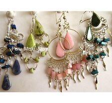 10 pairs EARRINGS, ALPACA SILVER and SEMIPRECIOUS STONES, Peruvian Jewelry