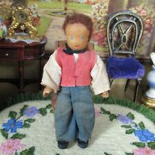 Vtg 30s Antique WOOD FACE Dollhouse Boy Man German Lotte Seiver-Hahn Doll Wooden