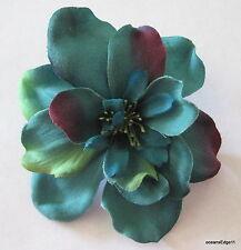 "Full 3"" Teal Blue,Green,Apple Blossom Silk Flower Hair Clip,Pin Up,Updo,Bridal"