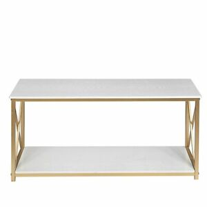 2-Tier Console Table, Gold Sofa Entry Table with Faux Marble Top and Gold Metal