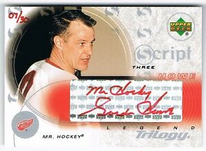 2003-04 UPPER DECK TRILOGY SCRIPTS RED INK AUTOGRAPH #S3-MH GORDIE HOWE 07/30 !!