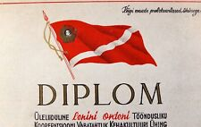 1955 Spartak Soviet Sports Society Diploma Litho Russia Estonia Type #2