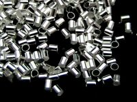 500 x 2mm x 2mm Silver Plated Tube Crimp Beads Findings Craft Beading K93