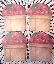 Strawberries Basket Coasters Cork Back Rustic Country New Set Of 4
