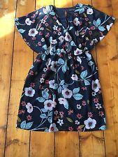 Size 6 Dark Floral Vintage Style Print Tea Dress Chiffon Faux Wrap  Winter