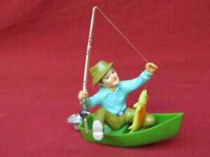 Vintage 1970 Wilton Cake Topper Fisherman Fisher Man Boat Motorboat Fishing Pole