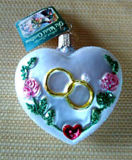 Old World Christmas Valentine Wedding Heart Rings Roses Glass Ornament-Excellent