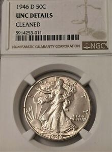 1946-D  NGC UNC DETAILS Walking Liberty Half Dollar! VERY BRIGHT CLEAN !