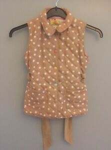 Joules Girls Brown Polka Dot  Quilted Tie Wrap Gillet- Age 6 Years - Superb!