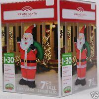 Gemmy 7 ft Tall Lighted Waving Santa Claus Airblown Inflatable NIB