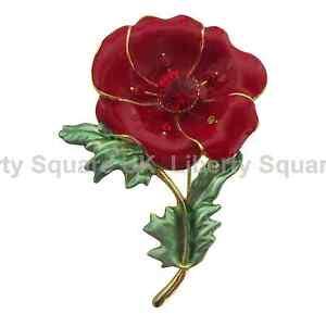 Red Enamel Poppy Brooch / Poppy Flower Pin / Mothers Day Gift  #572